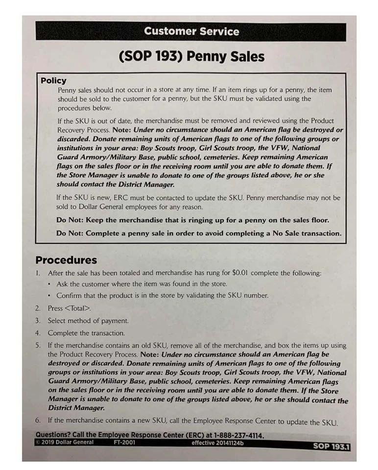 Dollar General Penny Sales Policy
